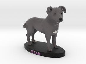Custom Dog Figurine - Titan in Full Color Sandstone