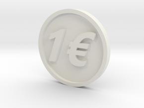 One Euro Coin in White Natural Versatile Plastic
