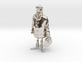 Man holding a suitcase in Rhodium Plated Brass