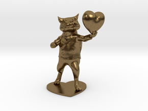 Valentines Day Cat holding Heart in Natural Bronze