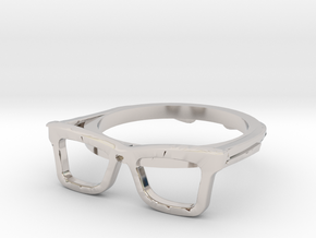 Hipster Glasses Ring Origin Size 10 (size 6-10) in Rhodium Plated Brass