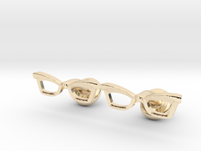 Hipster Glasses Cufflinks Female in 14K Yellow Gold