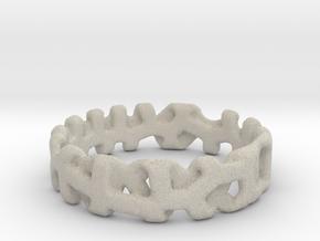 Voronoi 1 Design Ring Ø 19 mm/Ø 0.748 inch in Natural Sandstone
