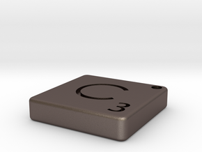 """""""C"""" Tile in Polished Bronzed Silver Steel"""