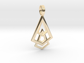 DELTOHEDRON 2D in 14k Gold Plated Brass