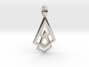 DELTOHEDRON 2D in Rhodium Plated Brass