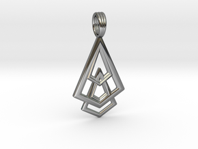 DELTOHEDRON 2D in Fine Detail Polished Silver