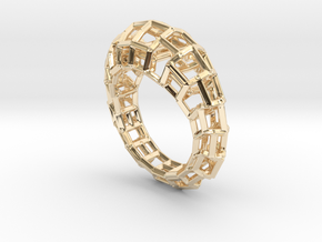 Ring Square3 in 14k Gold Plated Brass