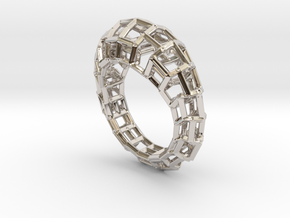 Ring Square3 in Rhodium Plated Brass