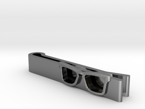Hipster Glasses Tie-Clip Origin in Fine Detail Polished Silver