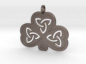 Celtic Shamrock in Polished Bronzed Silver Steel