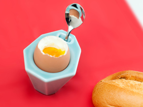 "Egg Cup ""Poly"" in Gloss Celadon Green Porcelain"