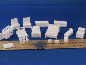 Bedroom Furniture  HO Scale (1/87th life size) in White Strong & Flexible