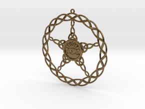 Triqueta Pentacle Pendant in Polished Bronze