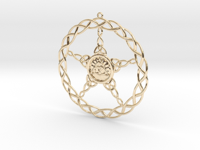 Triqueta Pentacle Pendant in 14k Gold Plated Brass