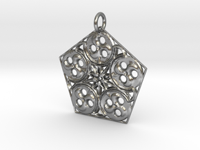 Pentagon Swirls Mandala Pendant in Natural Silver