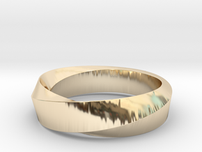 Mobius Wide Ring (Size 8) in 14k Gold Plated Brass
