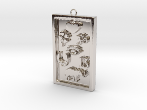 Rectangle Good Luck Pendant in Platinum