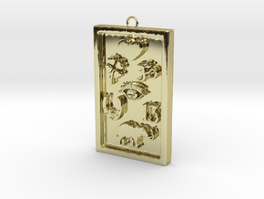Rectangle Good Luck Pendant in 18k Gold Plated Brass