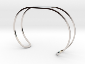 Custom Bracelet 40mm X 30mm Wire in Rhodium Plated Brass