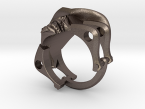 Silver Cowboy Skull Ring in Polished Bronzed Silver Steel