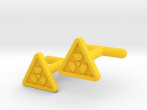 Radioactive Warning Cufflinks in Yellow Processed Versatile Plastic