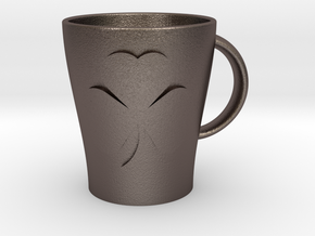Customizable Shamrock Mug (large) in Polished Bronzed Silver Steel