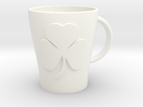 Customizable Shamrock Mug (large) in White Processed Versatile Plastic