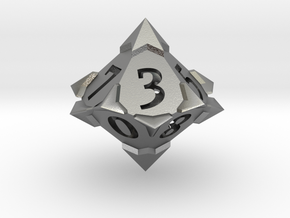 'Starry' D10 balanced die  in Natural Silver