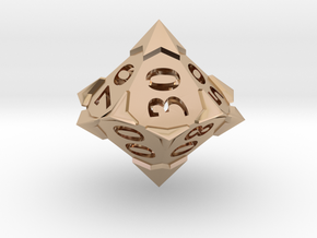 'Starry' 10D10 Die (Decader of Percentile D10) in 14k Rose Gold Plated Brass