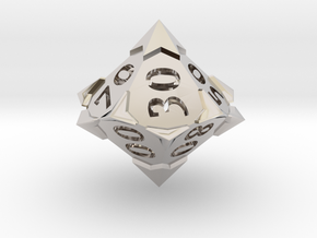 'Starry' 10D10 Die (Decader of Percentile D10) in Rhodium Plated Brass