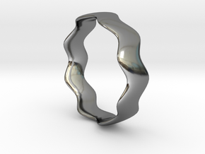 WIDE WAVE Ring in Fine Detail Polished Silver