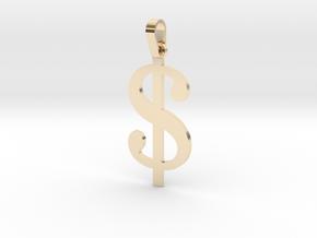 Dollar Sign Letter Pendant in 14K Gold