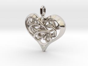 Tied Heart Pendant in Rhodium Plated Brass