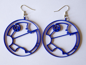 Tardis Earrings in Blue Processed Versatile Plastic