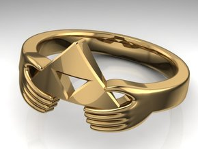 The Legend of Zelda Triforce Ring  in Fine Detail Polished Silver