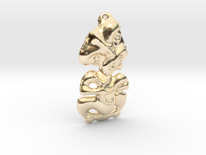 New Zealand Maori Tiki Pendant  in 14k Gold Plated Brass