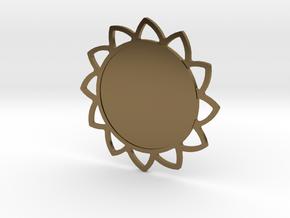 Custom Mandala Pendant Sunflower in Polished Bronze