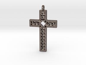 Criss Cross in Polished Bronzed Silver Steel