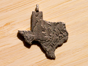 Texas Topography Pendant in Stainless Steel