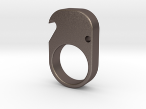 Single- Brass Knuckle Duster -Bottle Opener in Polished Bronzed Silver Steel