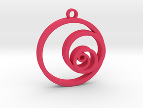 Fibonacci Circles Necklace in Pink Processed Versatile Plastic