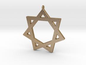 Heptagram Symbol Pendant in Polished Gold Steel