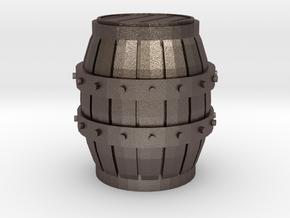Medieval Barrel miniature in Polished Bronzed Silver Steel