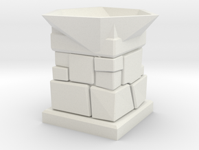 D20 Die Holder (Stone Tower) in White Natural Versatile Plastic