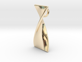 Twisty 180 polished pendant 3cm tall in 14K Yellow Gold