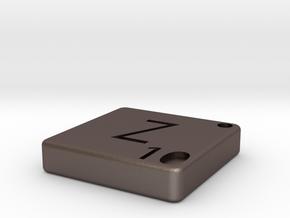 """Z"" Tile in Polished Bronzed Silver Steel"