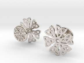 CELTIC KNOT CUFFLINKS 021116 in Rhodium Plated Brass