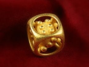 Dice No.1 S (balanced) (1.9cm/0.75in) in Polished Gold Steel