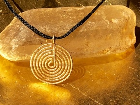 mystery little labyrinth Pendant in Matte Gold Steel
